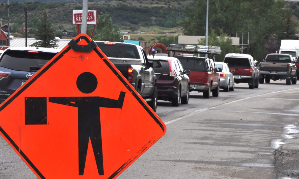 Traffic backs up on U.S. Highway 40 west of downtown Steamboat Springs during a road construction project in 2014.