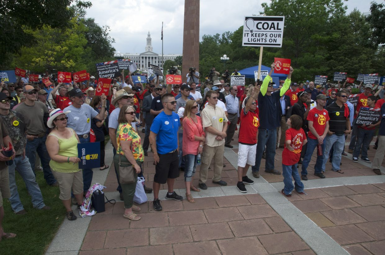 A crowd consisting of supporters of the coal industry gather Tuesday in Denver as part of a rally. Many Northwest Colorado residents attended this event, which was held during the Environmental Protection Agency's hearings.