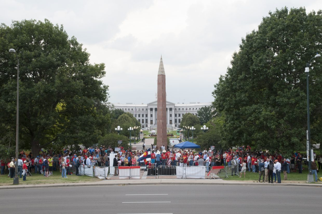 Crowds, including Northwest Colorado residents, convene in Denver on Tuesday afternoon.