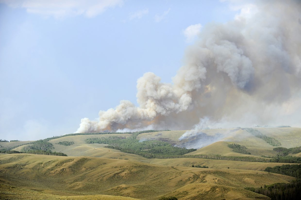 The Beaver Creek fire burns on Independence Mountain on Friday.