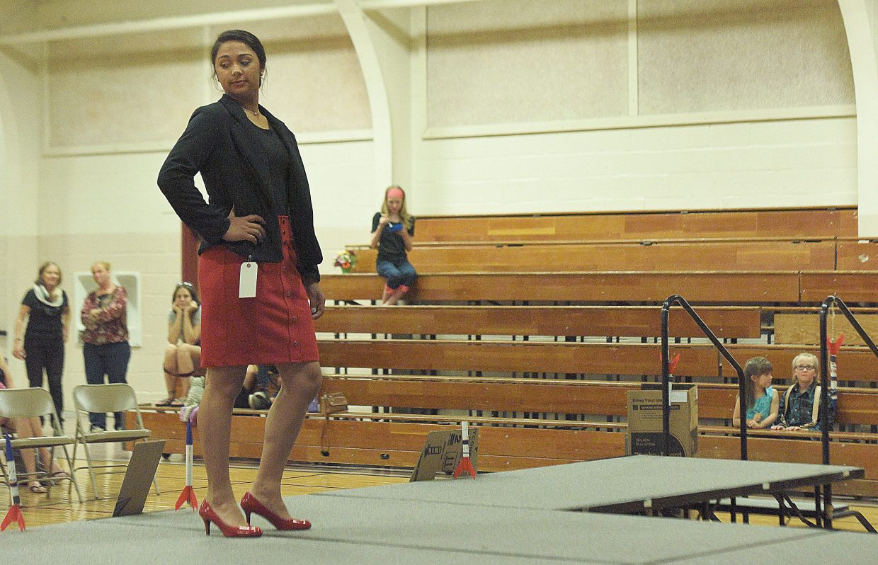 Laura Johnson models her blazer during the 4-H Fashion Revue Friday at Soroco High School. The fashion show anchored the Routt County 4-H's Exhibit Day and Fashion Revue The winners, who was announced Friday, will take their projects to the Colorado State Fair in Pueblo.