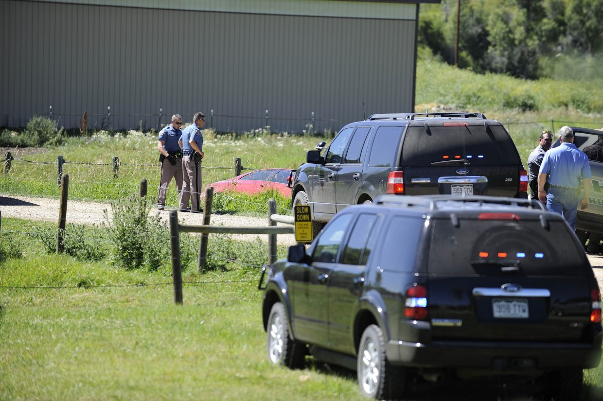 Police investigate the outcome of a high-speed pursuit Thursday afternoon that ended at Saddle Mountain Ranch.