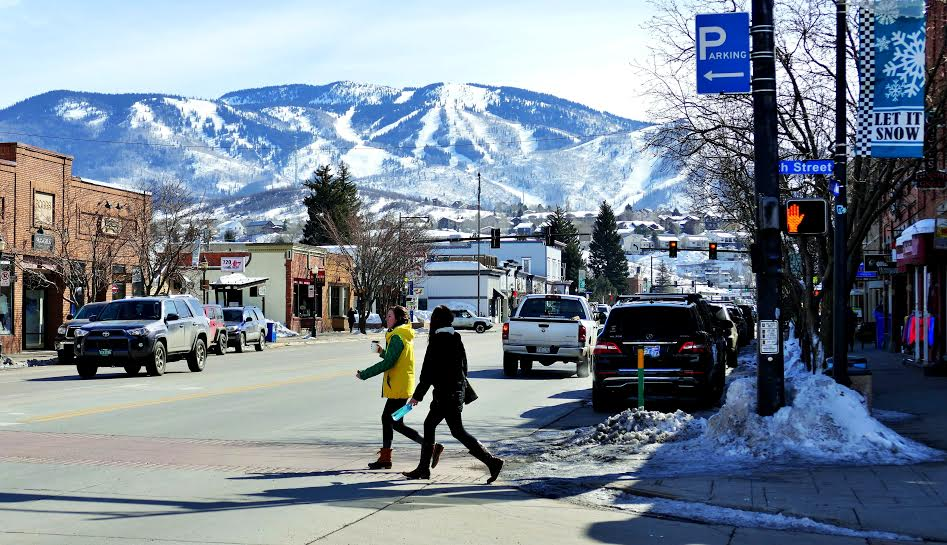 Here are some fun pictures for you of downtown Steamboat on a beautiful day in February. I caught one of the man with the Ben Franklin statue, just hanging out in front of the Wild Horse Gallery at 8th and Lincoln Ave. Submitted by Shannon Lukens.