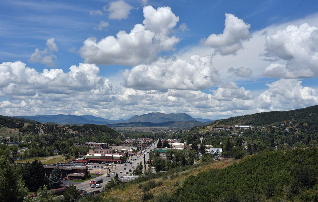 White fluffy clouds dot a bright blue mountain sky as summer-like weather returned to the Steamboat Springs area Thursday after several days of rain.
