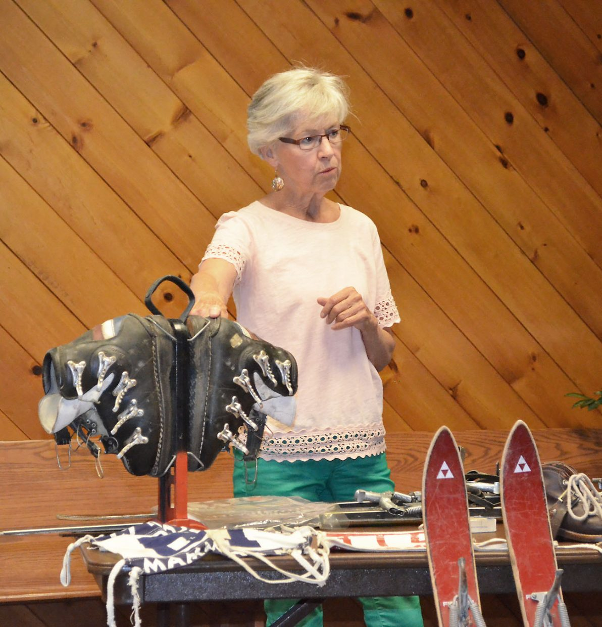 Lifelong Steamboat skier Sanse Berry describes a pair of early Heierling buckle ski boots, which represented a technological advance, to her audience at a Brown Bag Lunch, hosted by the Tread of Pioneers Museum at United Methodist Church on Friday.
