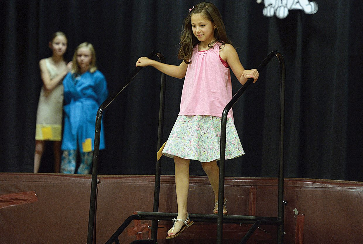 Hannah Koly struts her stuff during the Routt County 4-H Fashion Show on Friday evening at Soroco High School.