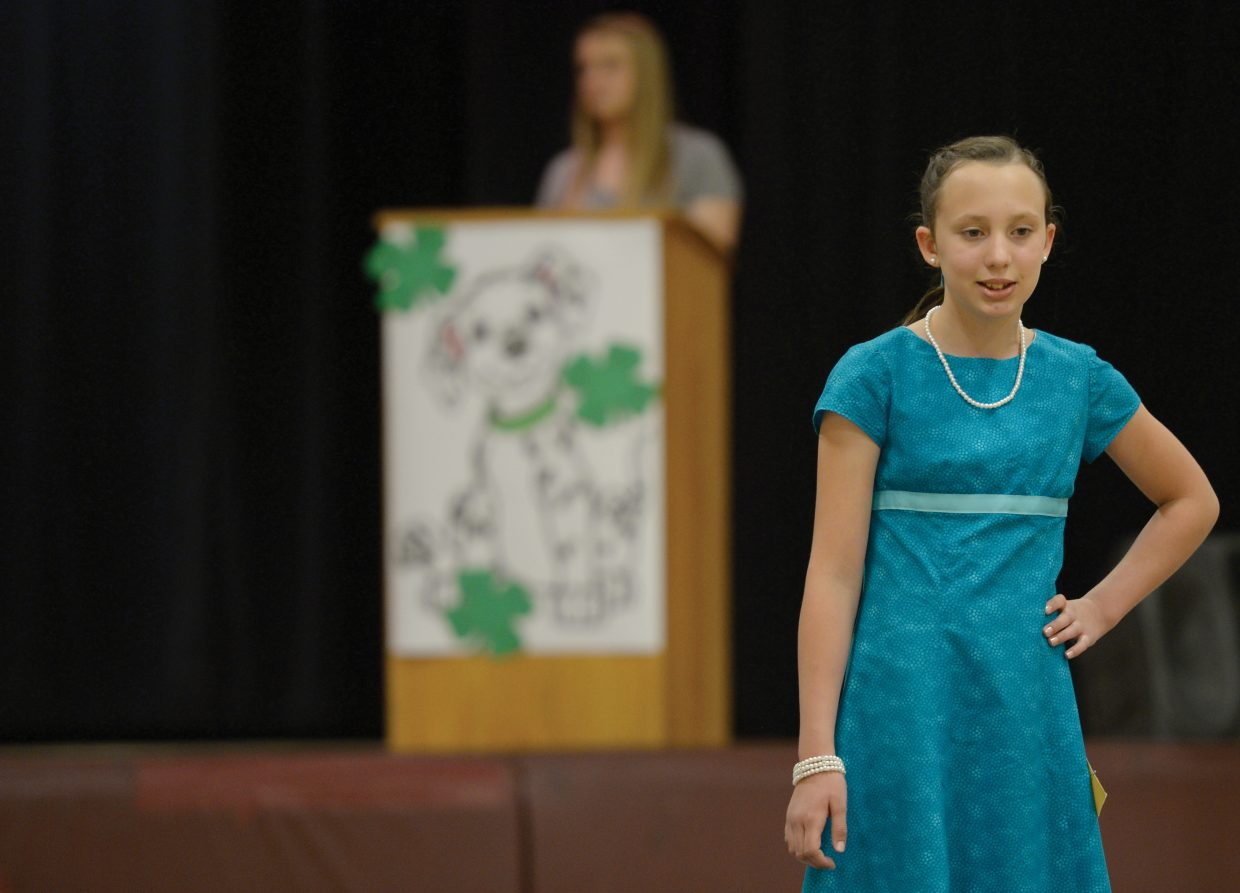 Kayla Rossi waits for judges to review her outfit during the Routt County Fashion Show at Soroco High School.