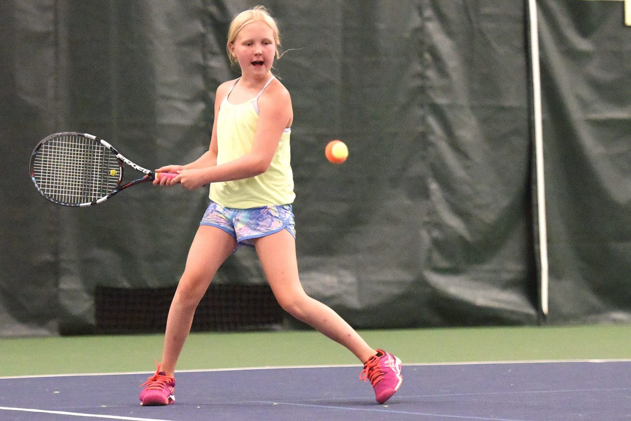 Grace Brice, 10, plays Sunday in the Steamboat Tennis Association tournament in Steamboat Springs.
