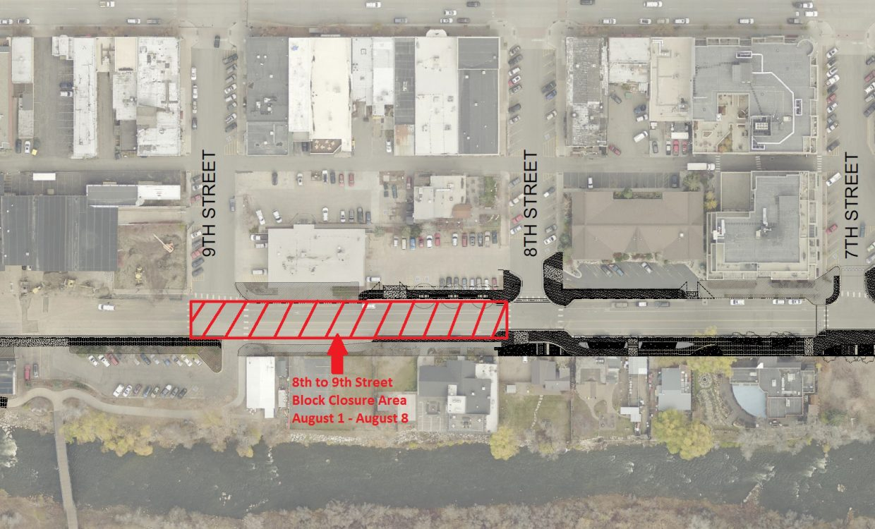 This map shows the Eighth to Ninth street closure area on Yampa Street.