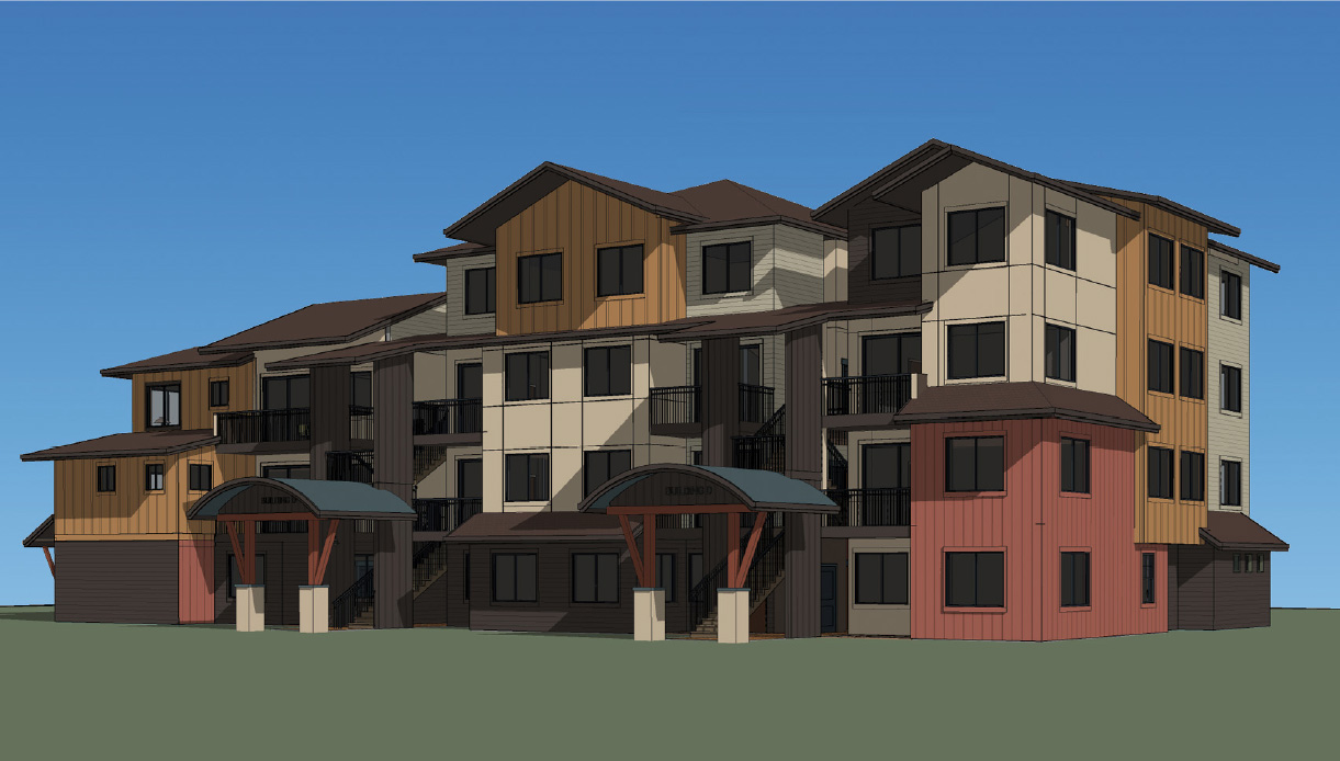 This rendering reflects the updated design of buildings at Steamboat Crossings South, a 180-unit residential development proposed on a lot south of Pine Grove Road and the old Staples building.