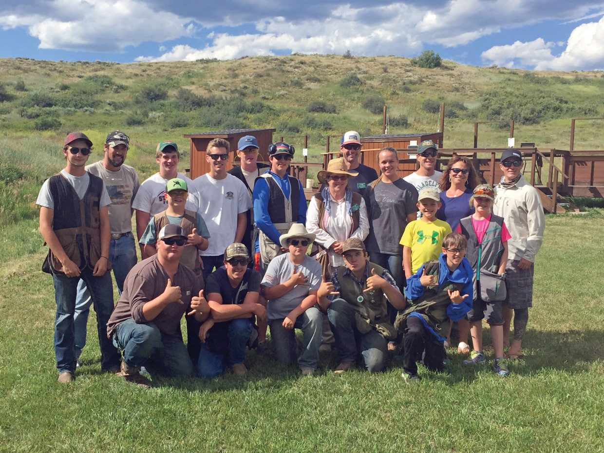 Members and coaches from the Routt County 4-H shooting program celebrate top finishes at Competion Day. Many of these finishers are on their way to state-level shooting events in Pueblo and Colorado Springs in late August and September.