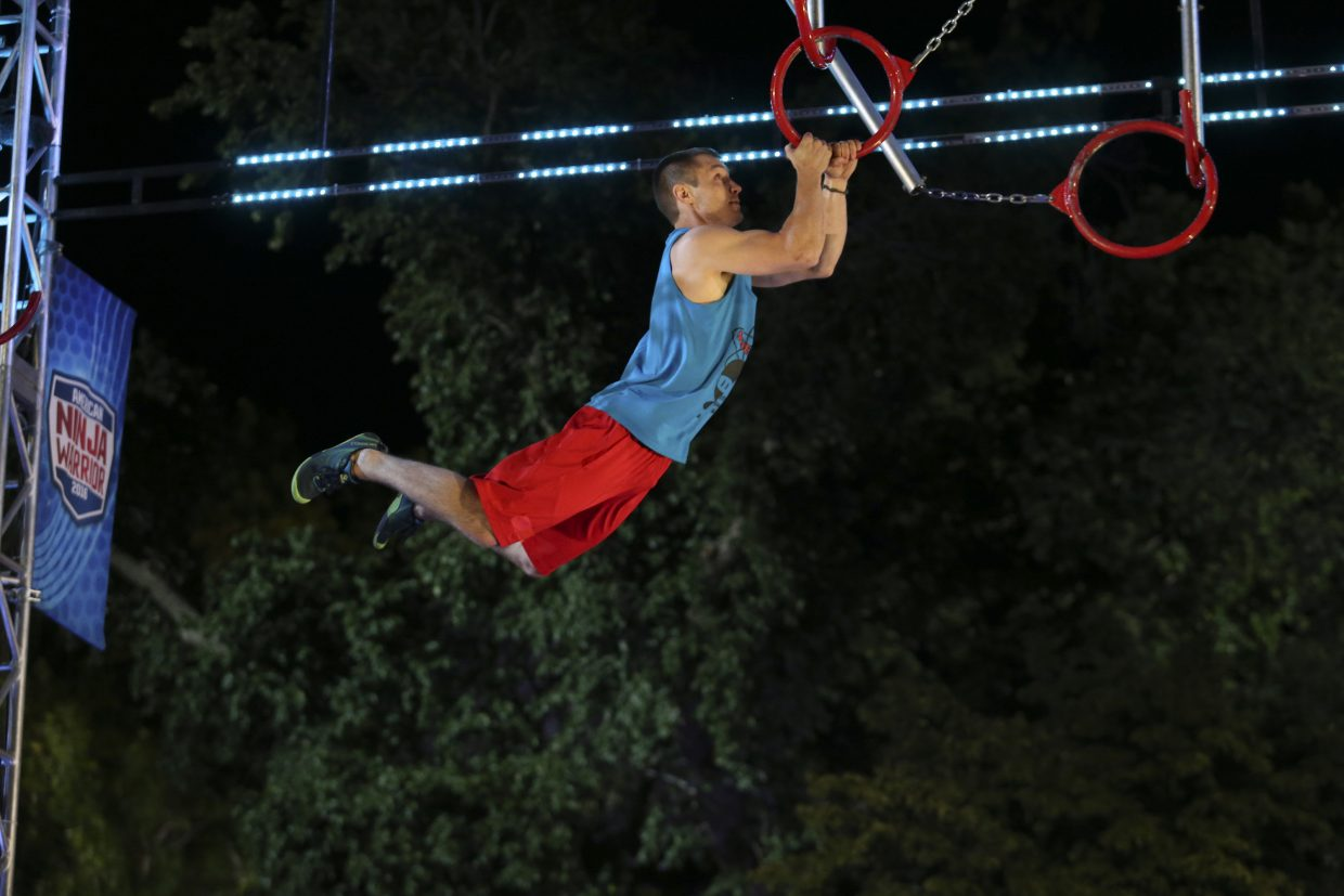 Mitchell VeDepo works his way through an obstacle on American Ninja Warrior. It was VeDepo's second year competing on the NBC game show.