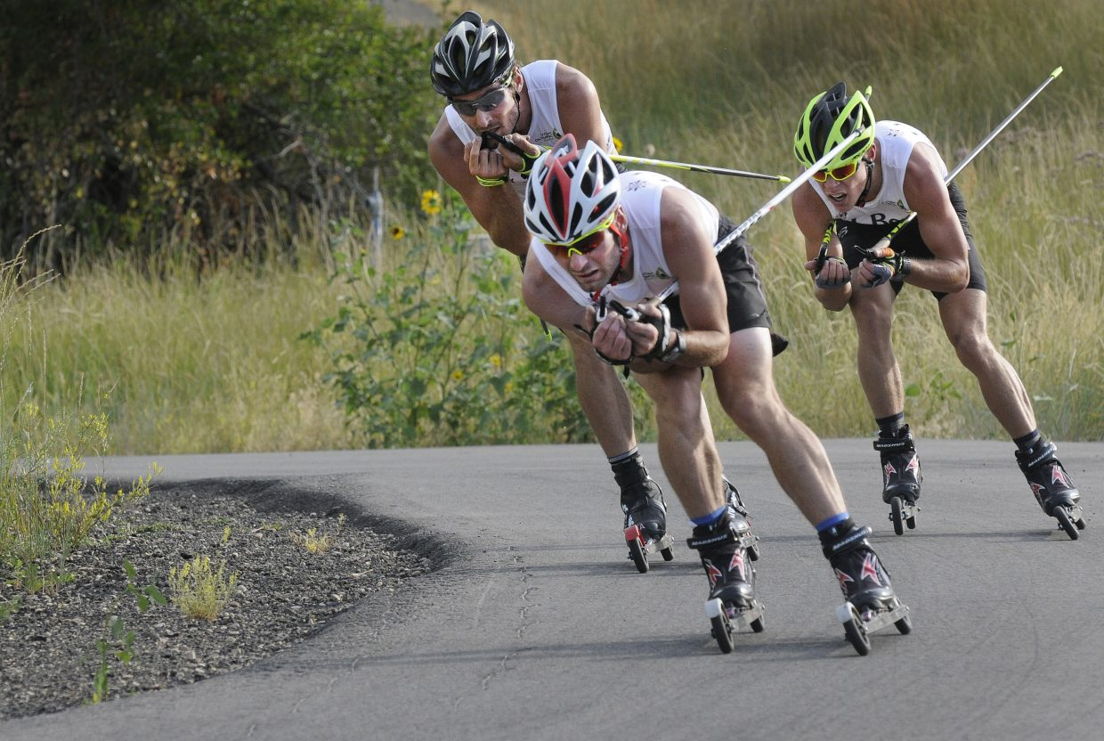 Bryan Fletcher leads late in the 10-kilometer cross country roller ski race at the U.S. Nordic Combined National Championships in Utah on Saturday, just ahead of Taylor Fletcher, left, and Ben Berend. Taylor Fletcher went on to win. Bryan Fletcher was second and Berend third.