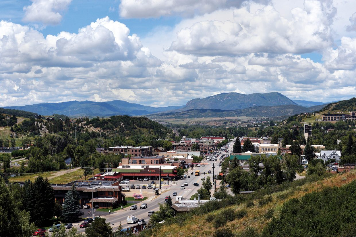 Clouds fill a bright blue mountain sky in Steamboat Springs.