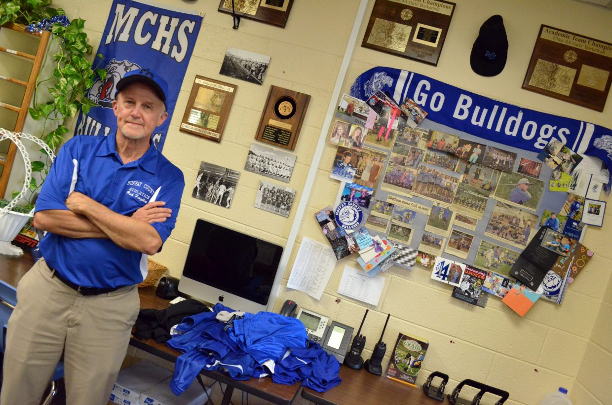 Rich Houghton bears Bulldog blue during his first official day on the job as the Moffat County High School athletics and activities director. Houghton has been in education in various positions as a teacher and athletics director for 44 years.