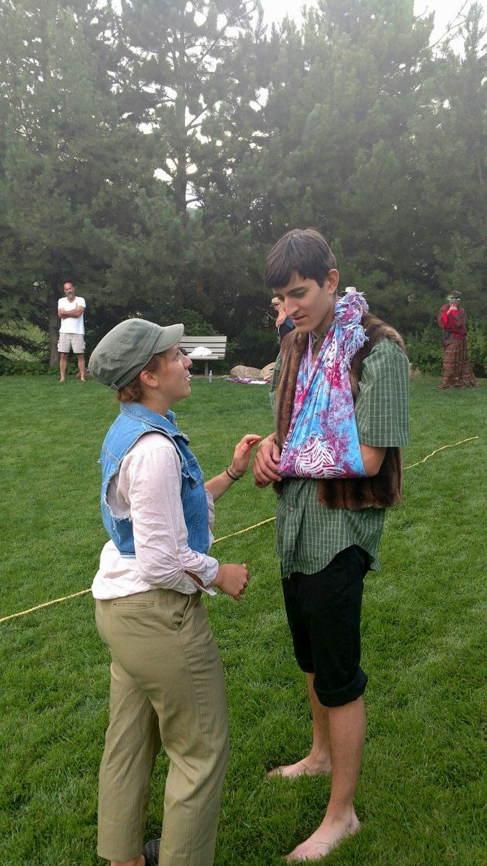 """Actors Hannah Dubner, left, as Rosalind, and Christian Nieves, as Orlando, rehearse a scene from William Shakespeare's """"As You Like It,"""" which opens at 6 p.m. Friday, Aug. 5, at Yampa River Botanic Park. The play will be presented the weekends of Aug. 5 and Aug. 12 as part of the 2016 Piknik Theatre Festival."""