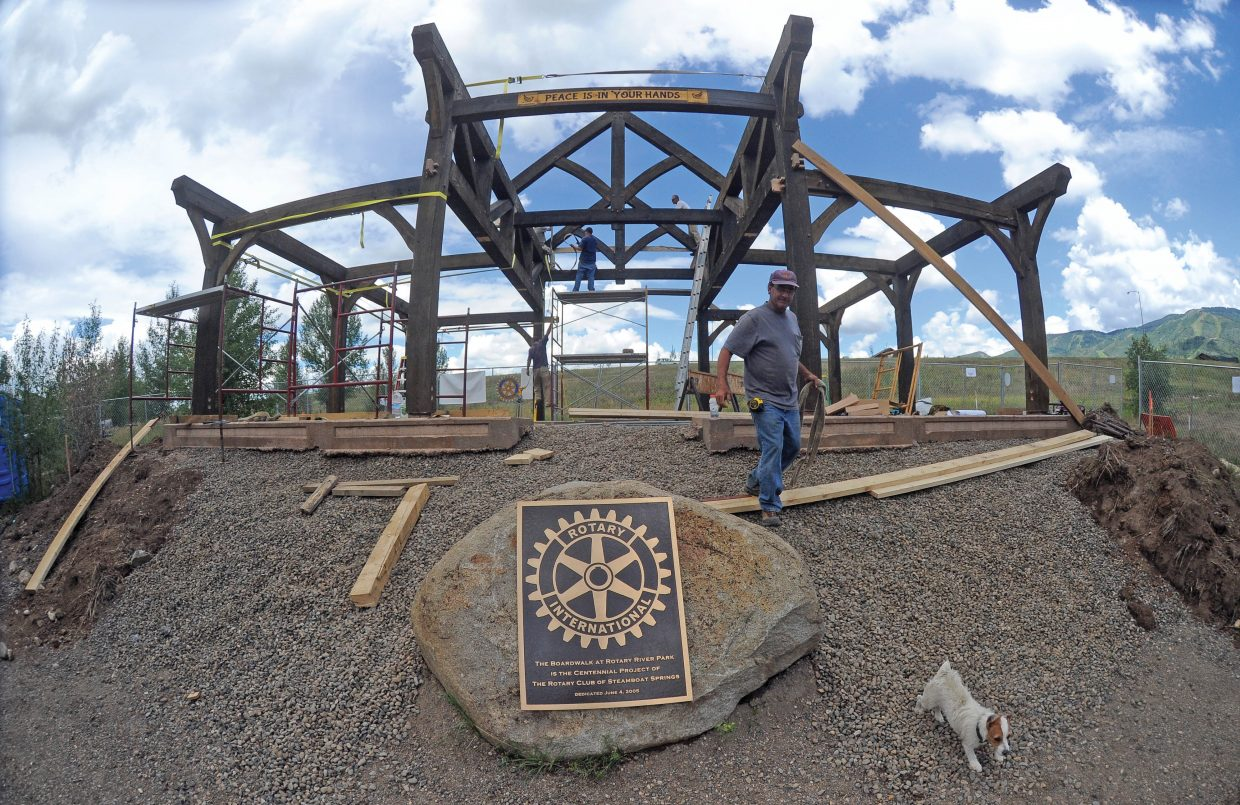 Builder Joe Bonn, of J. Bonn Wood Products, works on the Rotary Club's new Peace Pavilion at Rotary River Park just off the Yampa River Core Trail near Rotary Park. The club is building the pavilion and still is trying to raise more funds to pay for the completion. The pavilion and landscaping are expected to cost about $140,000 and the Rotary Club of Steamboat Springs has raised a little more than half the total amount. The club is hoping that, when finished, the site will be a place where people in our community can find peace, and pass it along to others.
