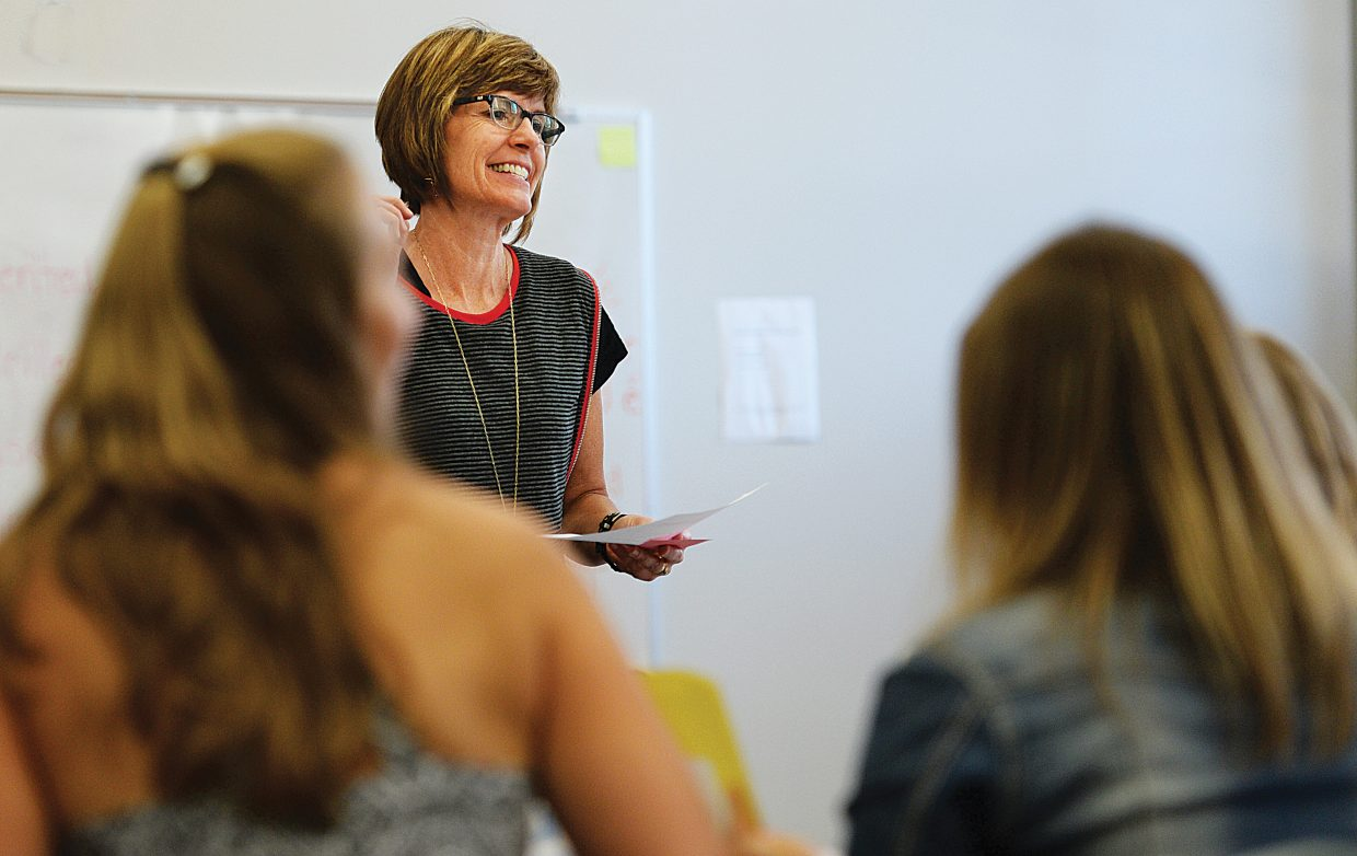 Leslie Kesson, of Orton-Gillingham International. leads a training session at the Steamboat Springs School District administration offices Wednesday morning.The training session was made possible by the Increasing Achievement and Growth grant that BOCES was awarded in 2013.