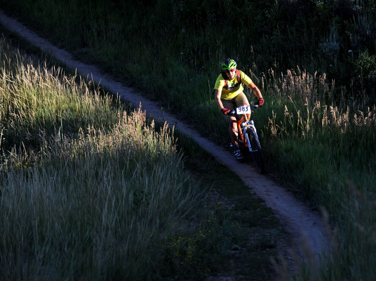 Liz Doby rides Wednesday in the Town Challenge mountain bike race on Emerald Mountain.