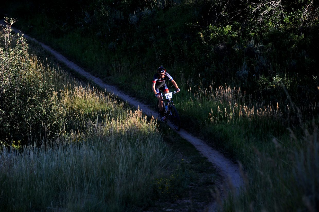 Corey Piscopo rides Wednesday in the Town Challenge mountain bike race on Emerald Mountain.