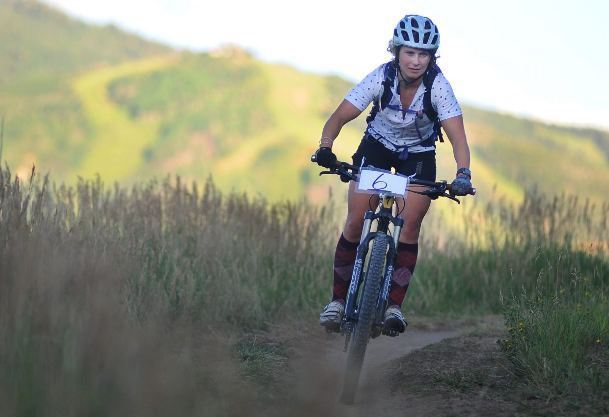 A cyclist rides Wednesday in the Town Challenge mountain bike race on Emerald Mountain.