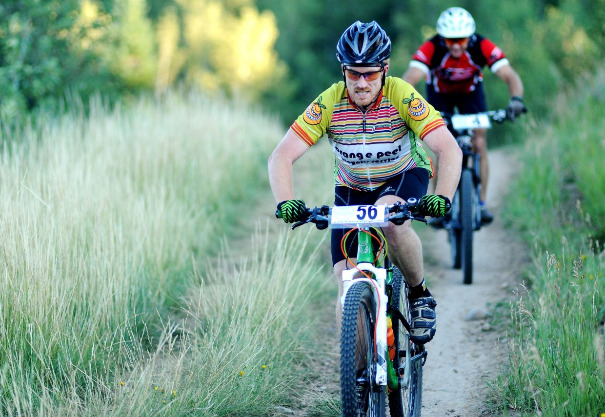 Tony Urbick rides Wednesday in the Town Challenge mountain bike race on Emerald Mountain.