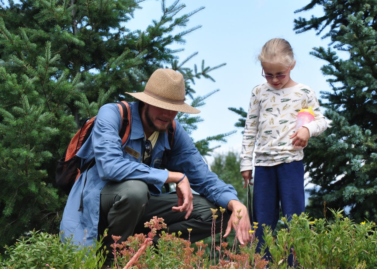 Yampatika Naturalist Tobias Bank points out some things about flowers to Sophia McGinnis-Smith on Thursday at the Yampa River Botanic Park. Councils around the state are working to implement a new environmental education plan.