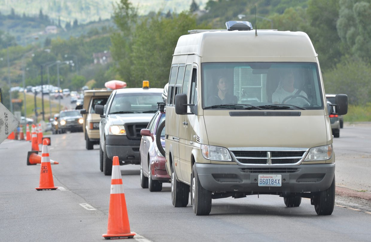 A long line of traffic makes its way out of downtown Steamboat Springs on Friday afternoon. Construction at Anglers Drive slowed the early part of rush hour down a bit.