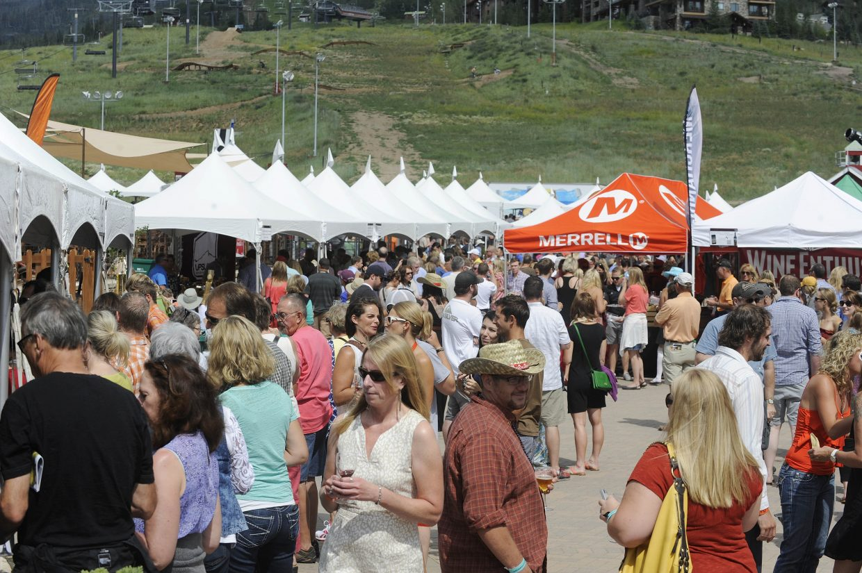 People fill Gondola Square on Saturday during the Steamboat Wine Festival Toast of Steamboat Grand Tasting event.