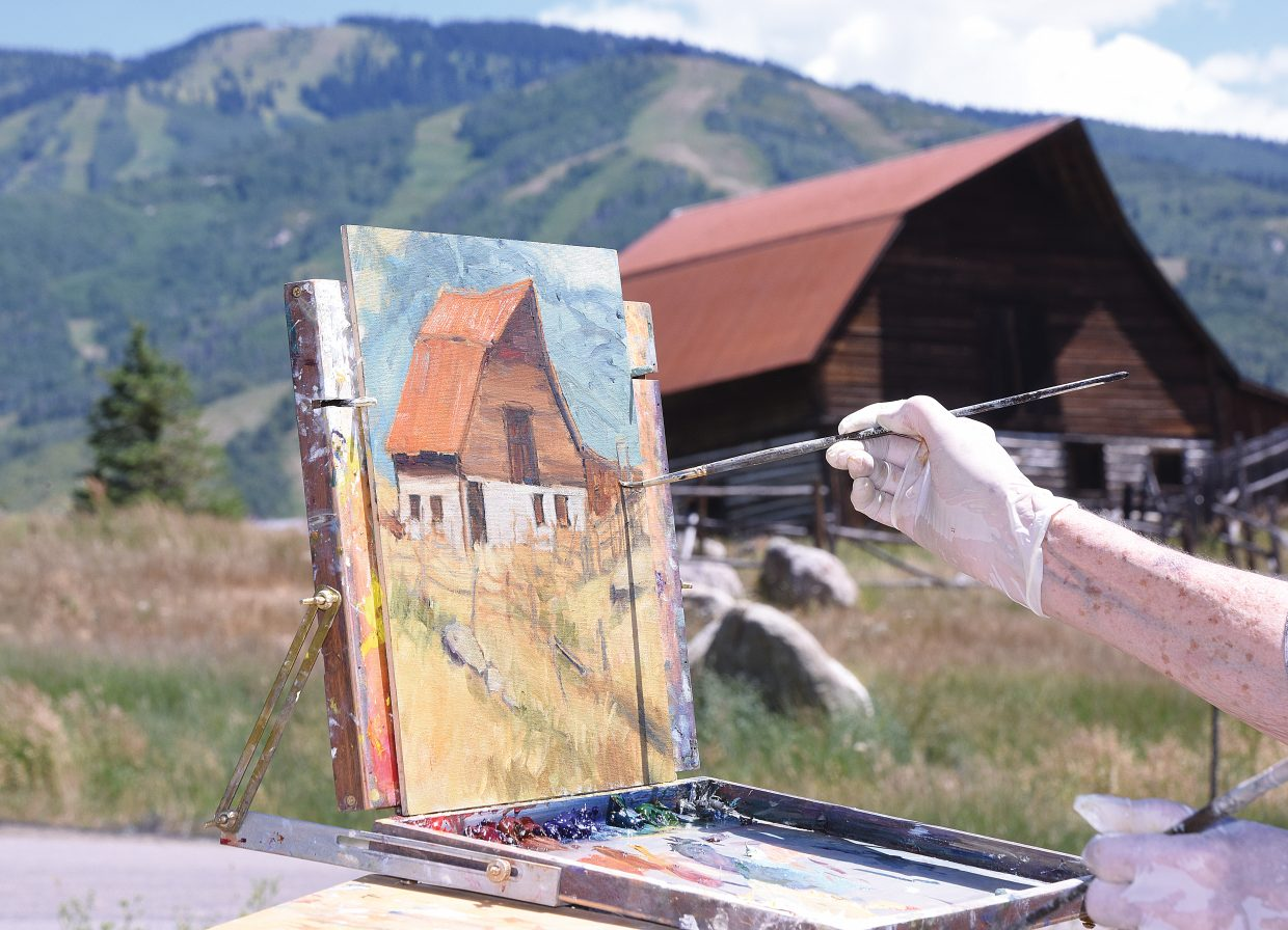 The More barn is just one of the many local landmarks that have caught the eye of Plein Air painter Jean Perry .
