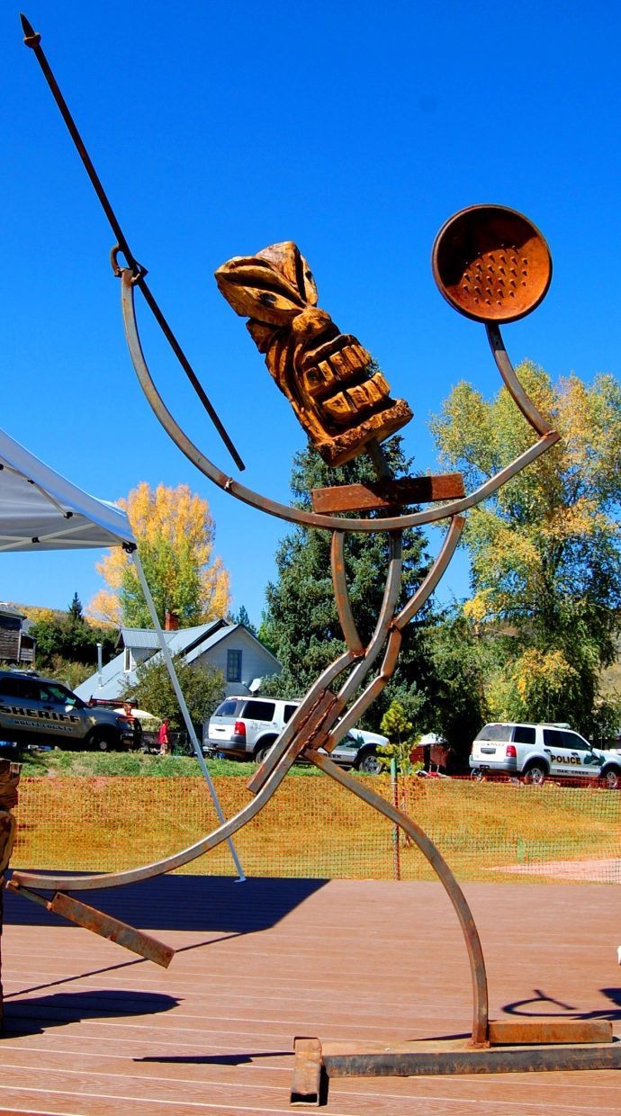 """Local artist Jeff Erickson's """"Modern Scarecrow"""" is shown at 2014's inaugural DitchFest in Oak Creek. This year's festival, set for Saturday, Aug. 13 in Oak Creek's Decker Park, is set to feature more Colorado bands and local artists."""