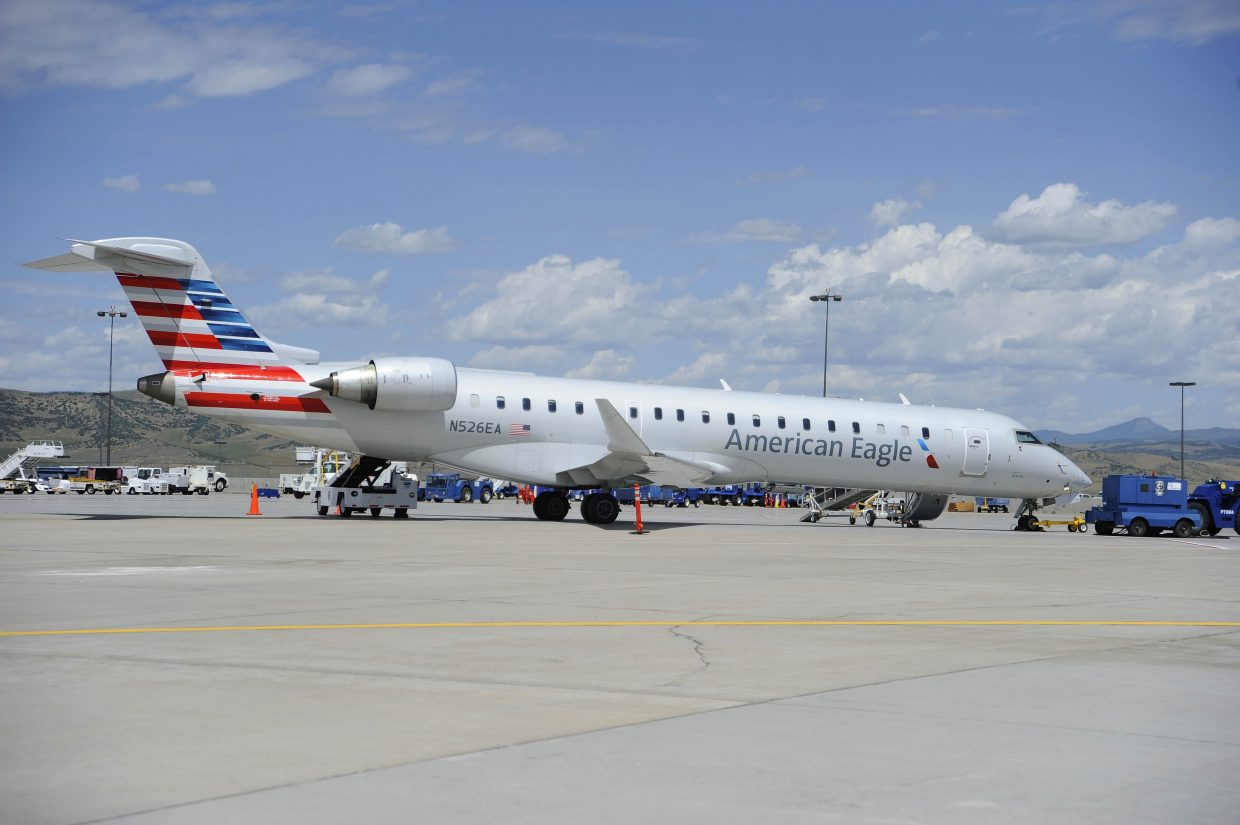 An American Eagle jet sits at Yampa Valley Regional Airport after experiencing problems with the flaps Thursday.