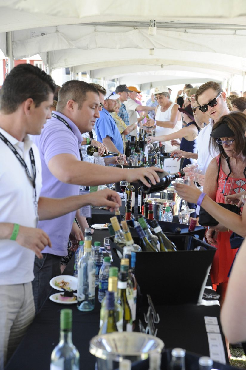 Wineries serve during the Steamboat Wine Festival Toast of Steamboat event.