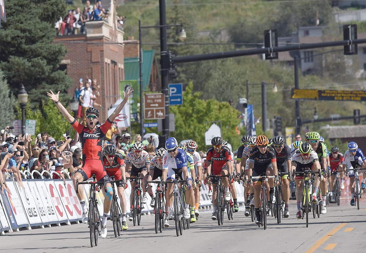 Boulder cyclist Taylor Phinney crosses the finish line in downtown Steamboat Springs to win Stage 1 of the 2015 USA Pro Challenge in thrilling fashion Monday afternoon in Steamboat Springs.