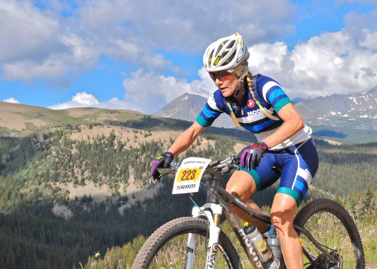 Kelly Boniface rides last week in the Breck Epic six-day mountain bike stage race based in Breckenridge. Boniface finished fourth in the solo women's category of her first mountain bike stage race.