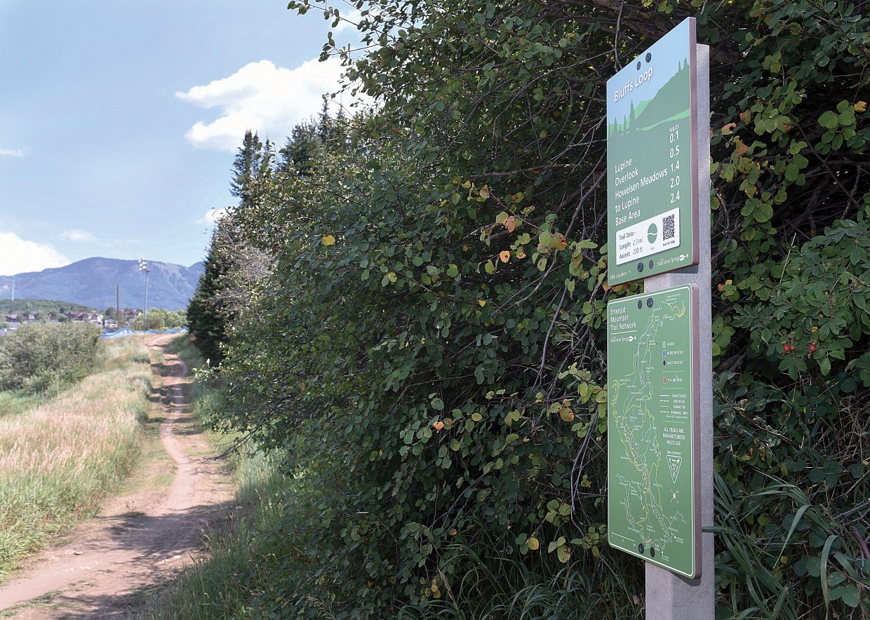 The new signage on Emerald Mountain helps emergency medical services personnel to locate and reach injured bikers and other trail users. The signs also help visitors navigate through Emerald's trail system.