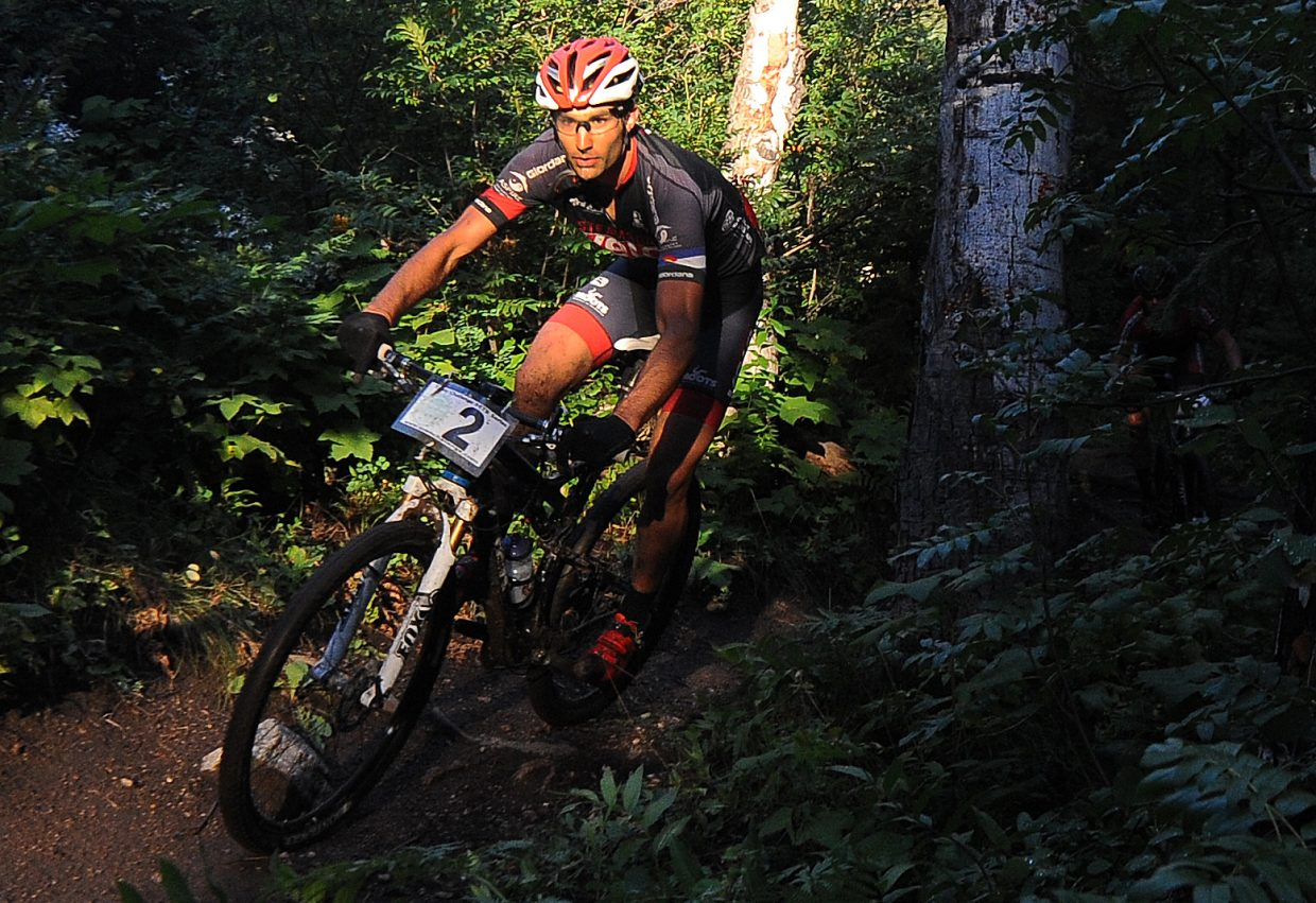 Alex Pond races Wednesday in the Town Challenge Mountain Bike Race Series. Pond finished second in the race, wrapping up a strong season that left him just short of the overall men's pro/open championship.