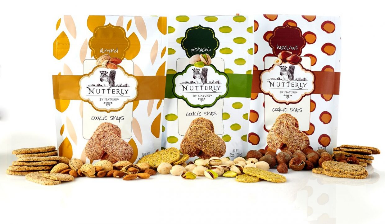 Nutterly cookie snaps come in almond, pistachio and hazelnut varieties.
