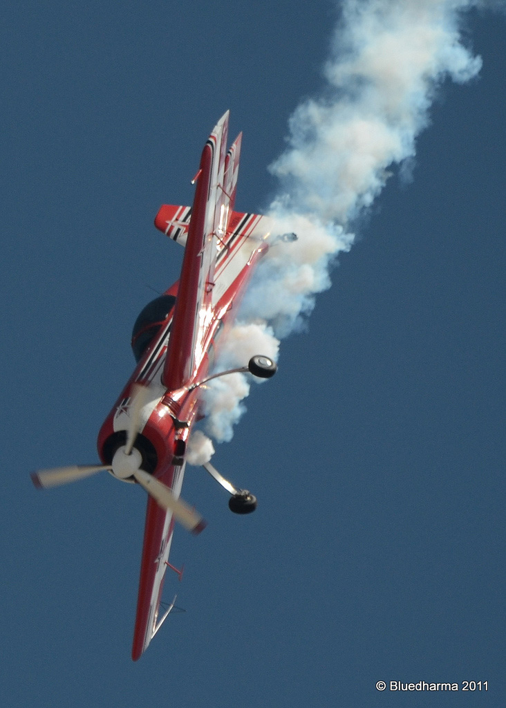 Pilot Don Nelson performs a show in his Sukhoi Su-26 airplane. Nelson will perform in the upcoming Wild West Air Fest at the Steamboat Springs Airport.