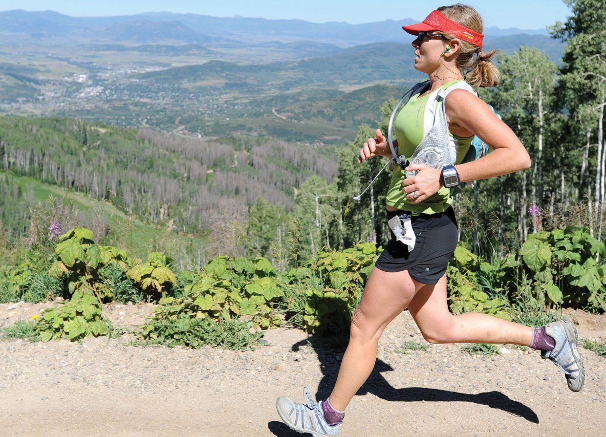 The Continental Divide Trail Run starts at the base of Fish Creek Falls, cuts up to Long Lake, then back down along the Mountain View Trail, through the top part of Steamboat Ski Area and to a finish at the top of the gondola. Here, Cara Marrs nears the finish of the 2010 race. This year's race is Saturday.