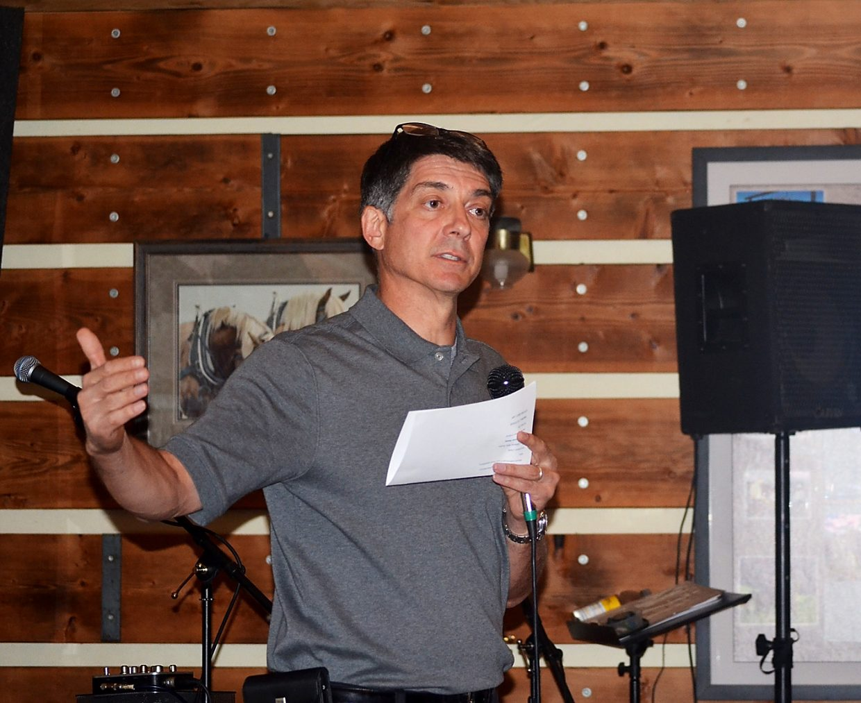 Matt Lepore, director of the Colorado Oil and Gas Conservation Commission, updates members of Citizens Supporting Property Rights on Thursday night at Saddleback Ranch on the creation of a new statewide task force to advise Colorado officials on legislation, regulations and policies pertaining to energy exploration.