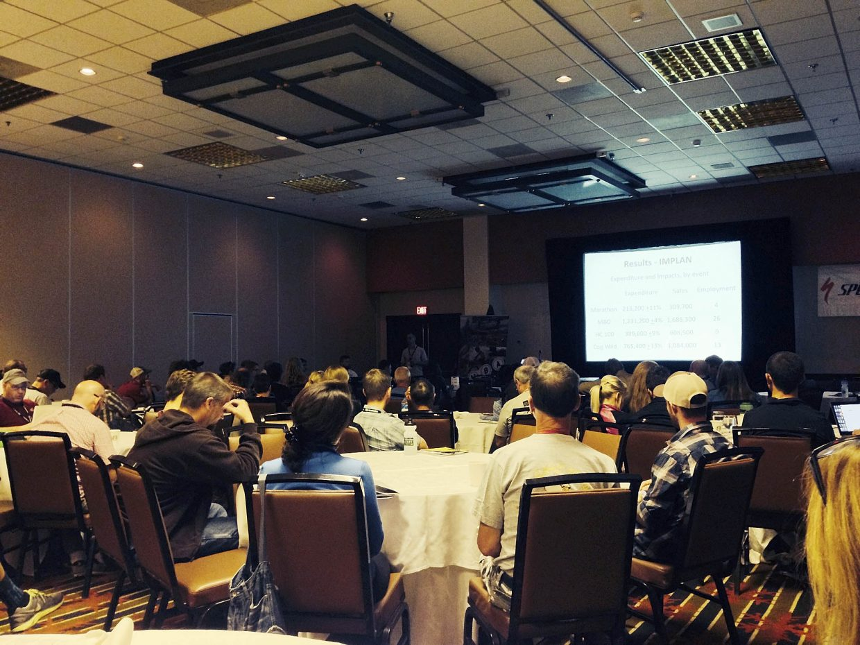 International Mountain Bicycling Association World Summit attendees listen to Linfield College Professor Jeff McNamee speak about the economic impacts from cycling events in Oregon on Friday at the Sheraton Steamboat Resort.