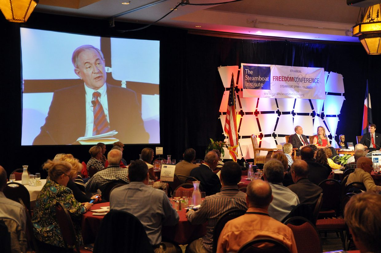 Former Virginia Gov. James Gilmore talks about national privacy issues Friday during the Freedom Conference in Steamboat Springs.