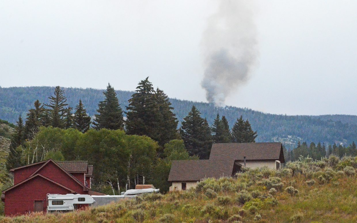 The Silver Creek Fire burns up in the Sarvis Creek Wilderness about four miles southeast of Stagecoach Reservoir on Monday afternoon. The fire was reportedly caused by a lightning strike on Saturday.