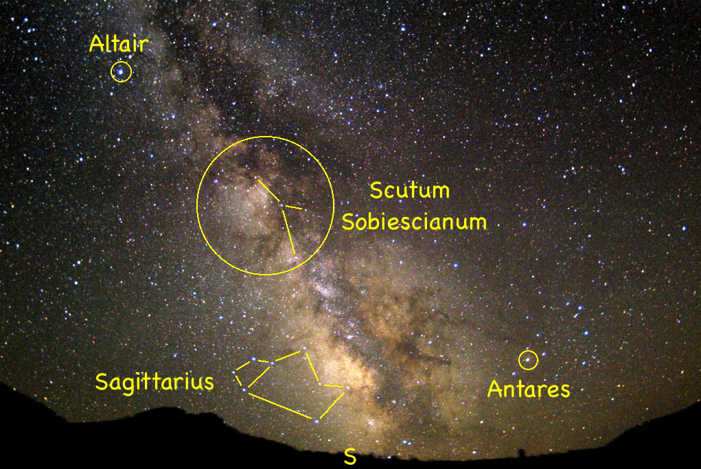 With the moon out of the way this week, it's a perfect time to explore the diminutive constellation of Sobieski's Shield. It is located within one of the brightest star clouds of the summer Milky Way. Look for it high in the southern sky about 9:30 p.m.