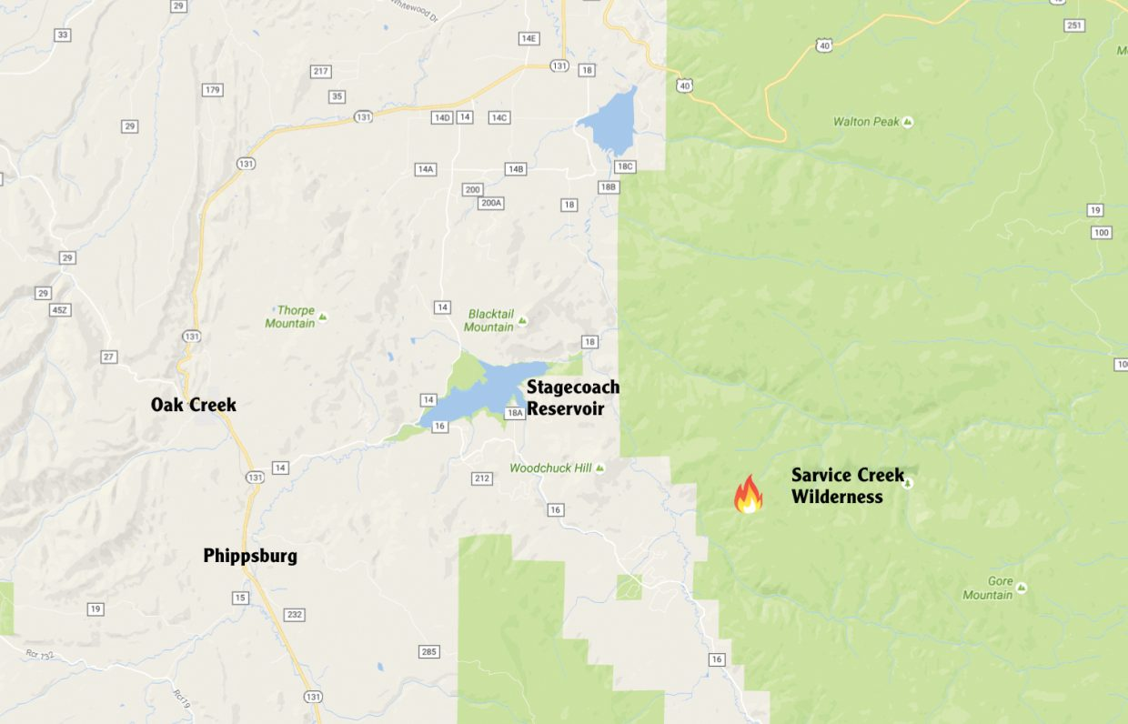 This map shows the approximate location of the Silver Creek Fire, which is now burning in the Sarvis Creek Wilderness Area about 4 miles southeast of Stagecoach Reservoir.