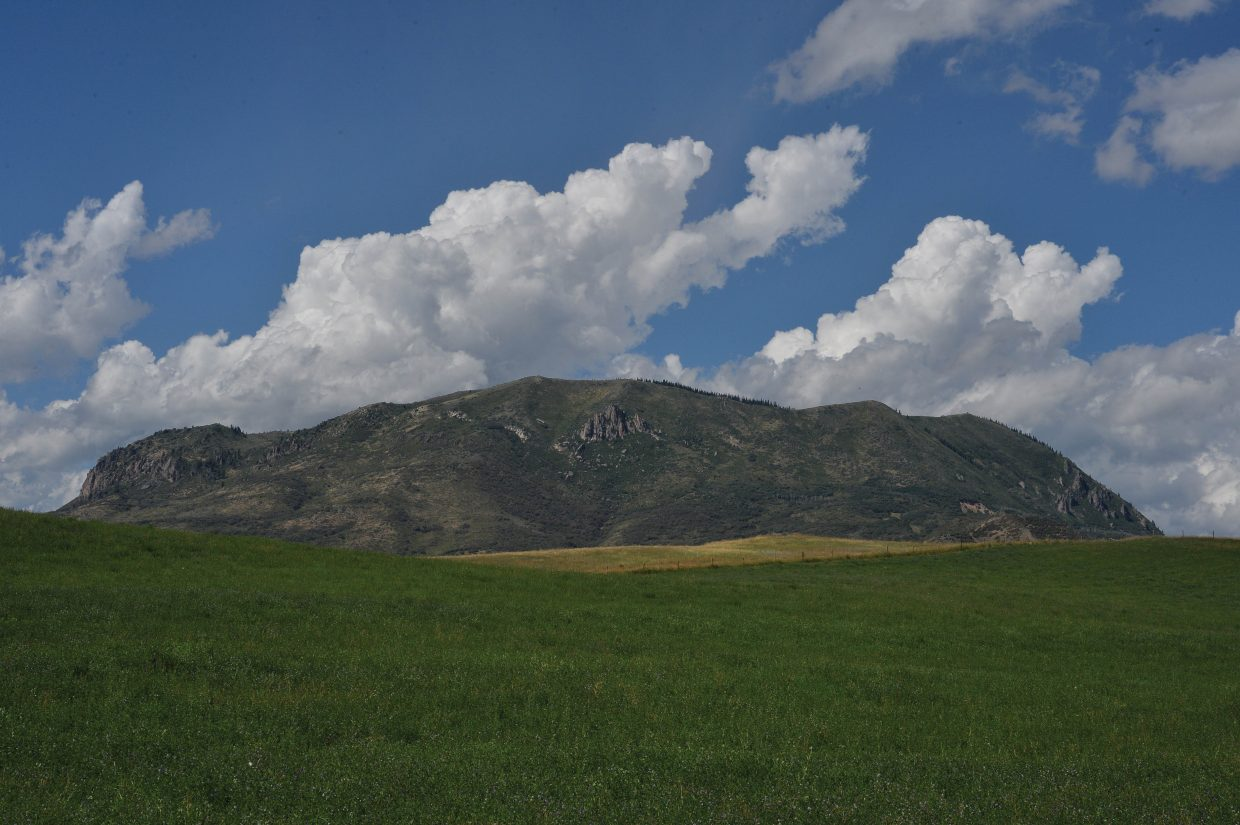 Clouds build behind Sleeping Giant on Monday afternoon near Steamboat Springs.