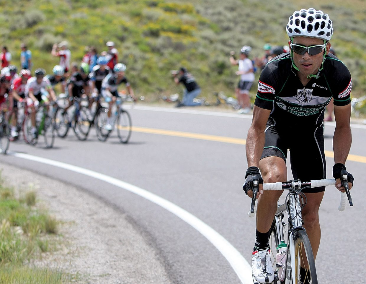 Colombian rider Janier Alexis Acevedo Colle breaks away from the peloton during the 2011 USA Pro Challenge.