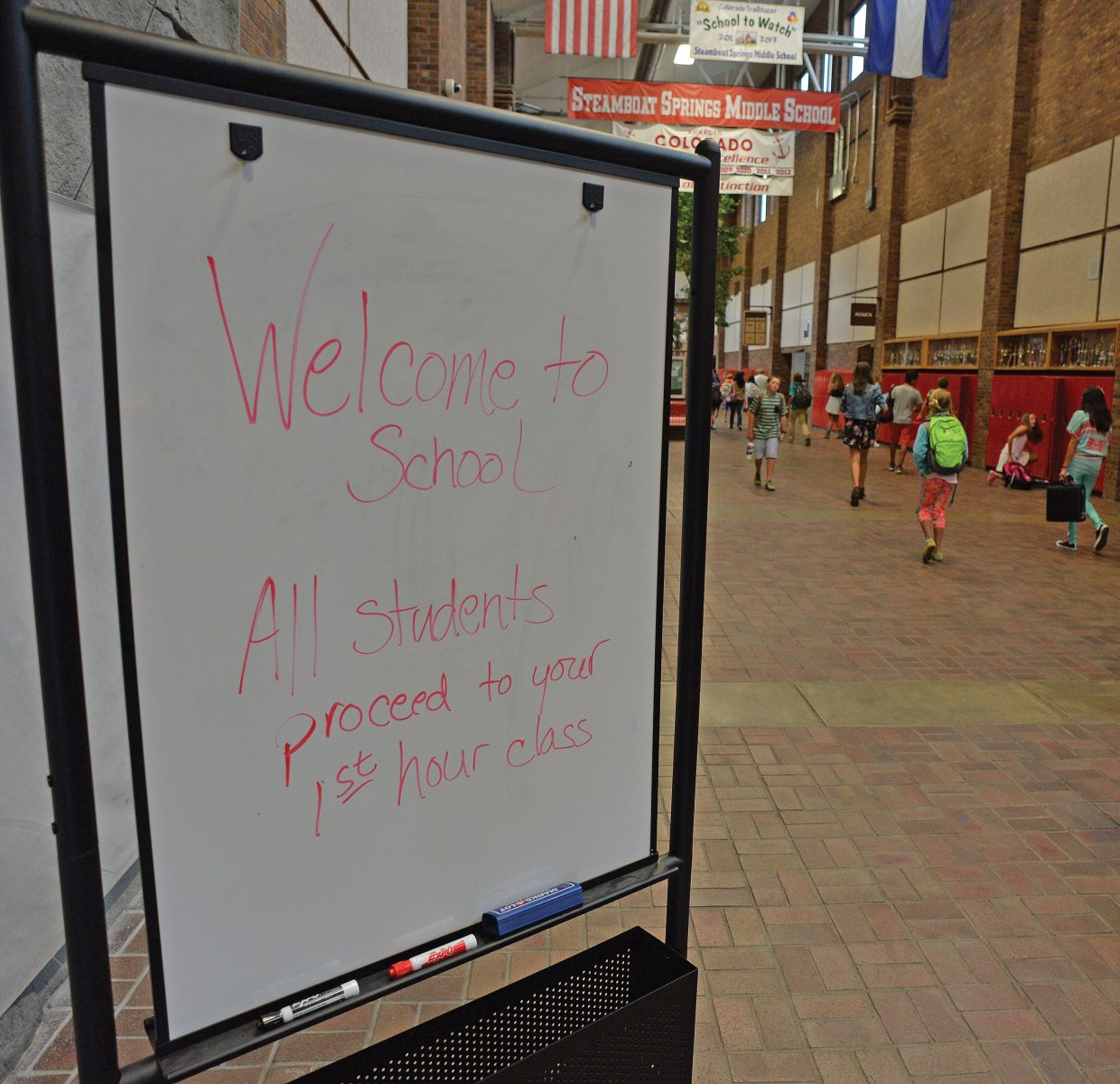 A sign at Steamboat Springs Middle School welcomes students back to class Tuesday morning.