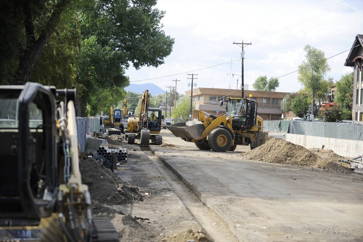Work continues Friday on the Yampa Street Improvements Project. Businesses remain open, but the street is closed between Seventh and Ninth streets. The work is scheduled to be substantially complete by Nov. 24.